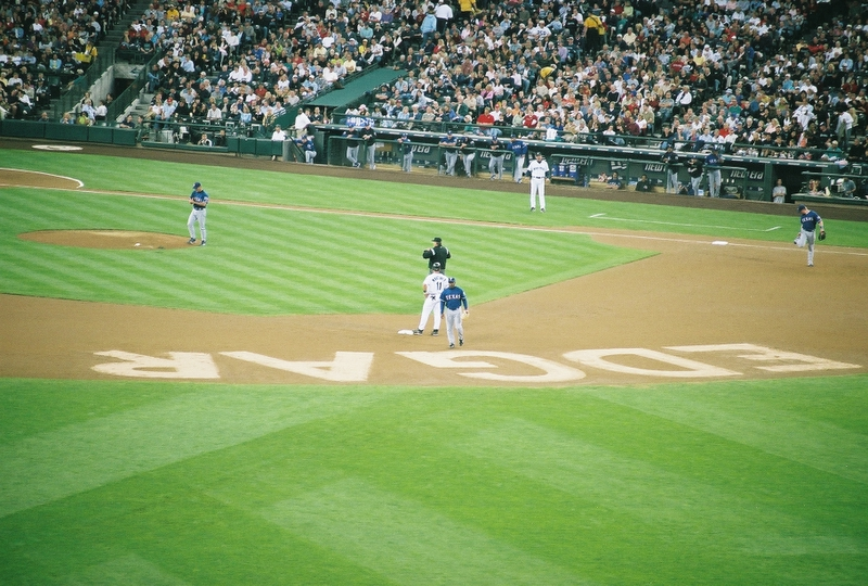 Edgar Martinez stands on 2nd base for the very last time in his career on October 2nd, 2004, in Safeco Field during Edgar Martinez Day